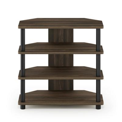 Turn-N-Tube 24 in. Columbia Walnut and Black Composite TV Console Fits TVs Up to 32 in. with Open Storage