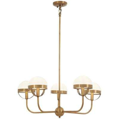 Tannehill 5-Light Aged Brass Chandelier with Opal Glass Shade