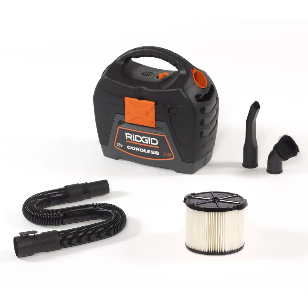 Ridgid 3 Gal 18 Volt Cordless Handheld Wet Dry Vac Wd0319 The Home Depot