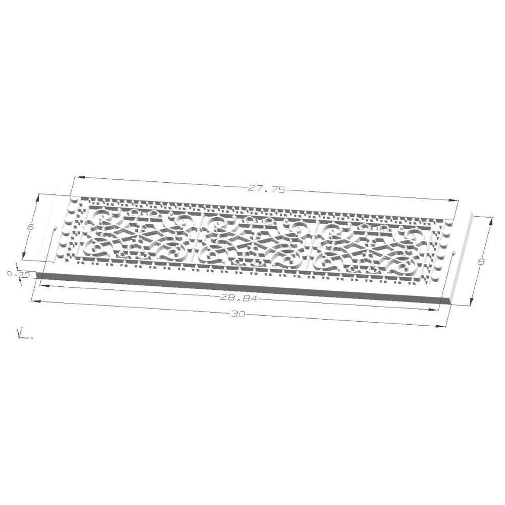 Home Hvac Baseboard 6 In X 28 In Polymer Resin Decorative