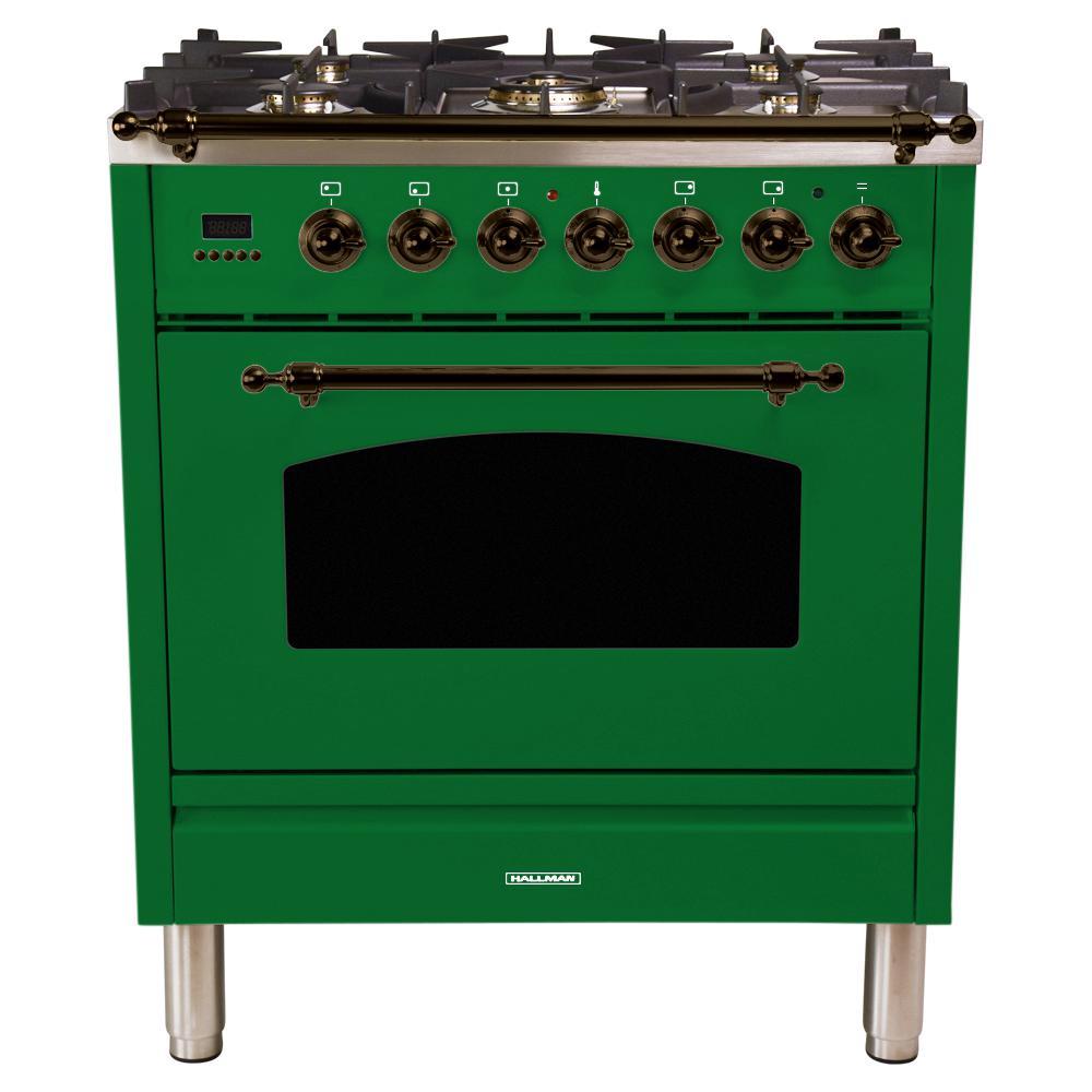 30 in. 3.0 cu. ft. Single Oven Dual Fuel Italian Range with True Convection, 5 Burners, Bronze Trim in Emerald Green