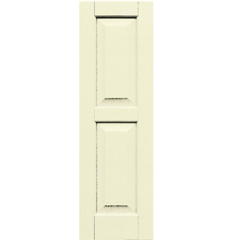 Winworks Wood Composite 12 in. x 39 in. Raised Panel Shutters Pair #651 Primed/Paintable