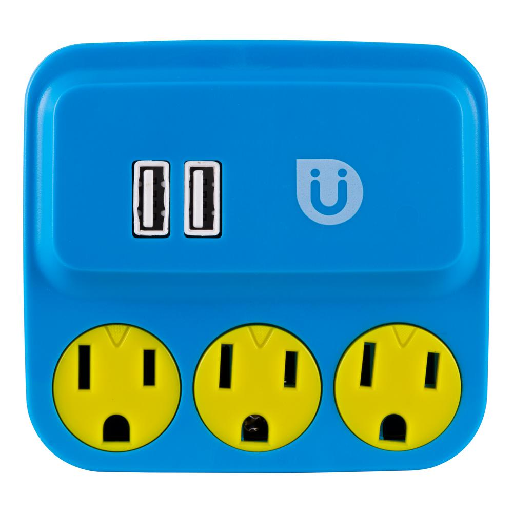 3 Grounded Outlet and 2-USB Port, 2.1 Amp Tap, Blue and