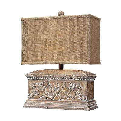 Pinder 17 in. Corbel Distressed Table Lamp with Burlap Shade