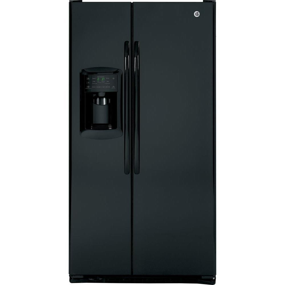 GE 22.7 cu. ft. Side by Side Refrigerator in Black, Counter Depth