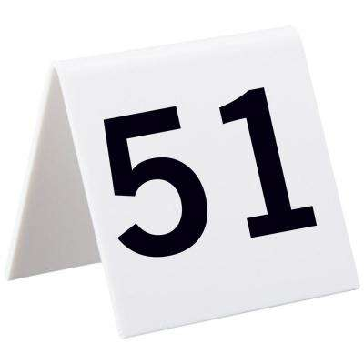 5 in. x 11 in. Numbers 51 to 75 Self Standing Number Cards