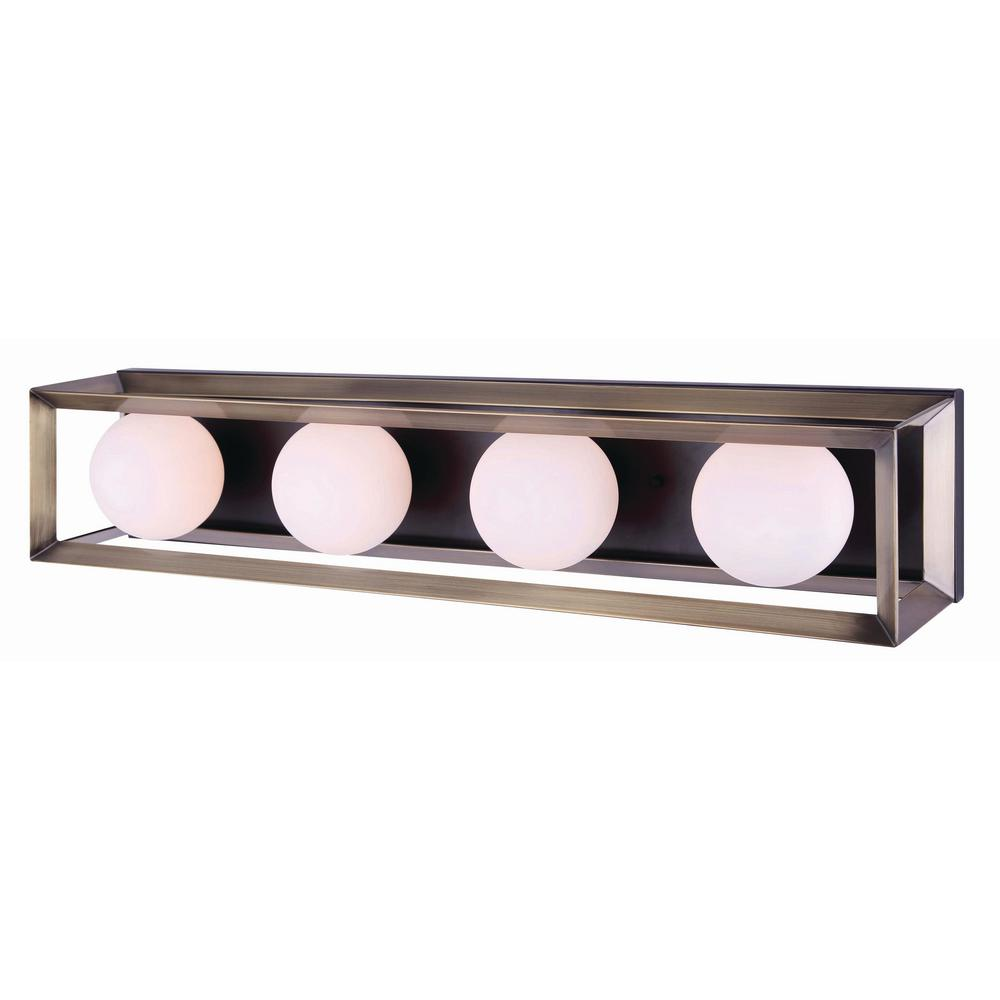 CANARM Leo 4-Light Matte Black and Gold Vanity Light with ...