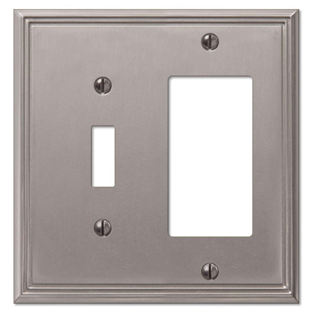 Creative Accents Metro Line 1 Toggle 1 Decorator Wall Plate - Brushed Nickel-DISCONTINUED