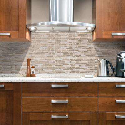 Bellagio Sabbia Approximately 3 in. W x 3 in. H Ivory and Beige Decorative Mosaic Wall Tile Backsplash Sample