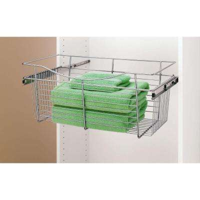 7 in. H x 24 in. W x 14 in. D Chrome Closet Pull-Out Basket