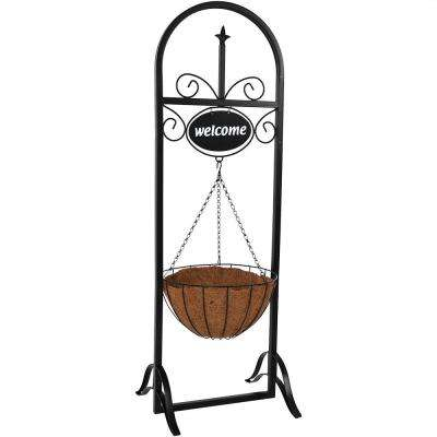 48 in. Decorative Iron Welcome Sign and Hanging Basket Planter Stand