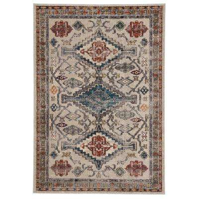 Amuze Blue 4 ft. x 5 ft. 8 In. Medallion Rectangle Rug