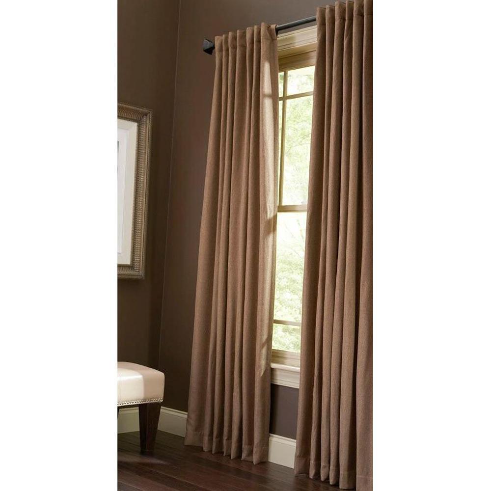 Semi-Opaque Nutmeg Thermal Tweed Back Tab Curtain