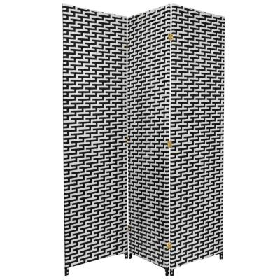 6 ft. Black and White Woven Fiber 3-Panel Room Divider