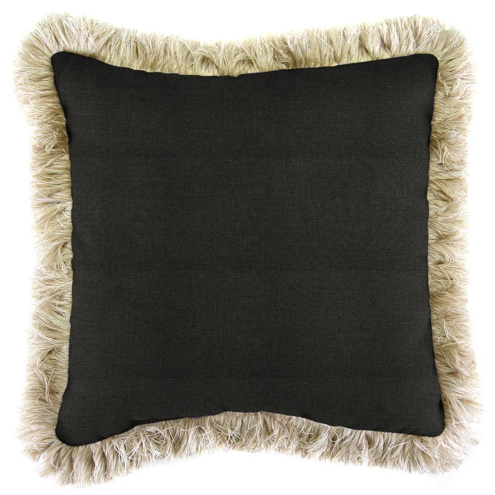 Sunbrella Spectrum Carbon Square Outdoor Throw Pillow with Canvas Fringe