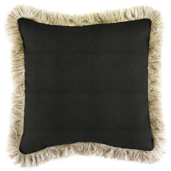 Sunbrella Spectrum Carbon Square Outdoor Throw Pillow with Canvas Fringe