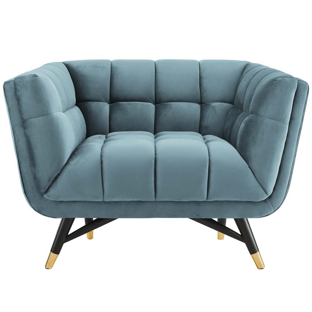 Adept Upholstered Velvet Armchair in Sea Blue