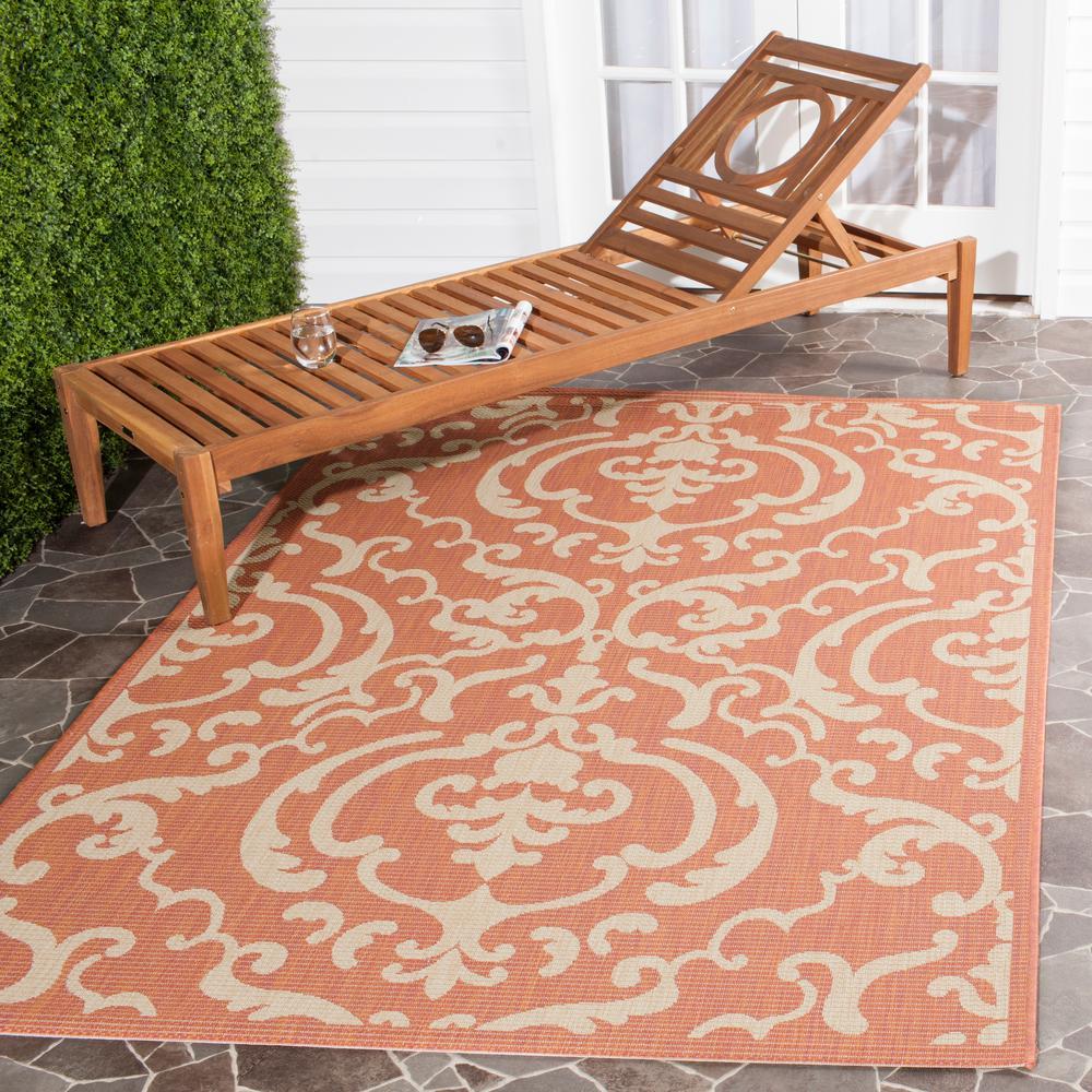 Safavieh Courtyard Terracotta/Natural 8 ft. x 11 ft. Indoor/Outdoor Area Rug