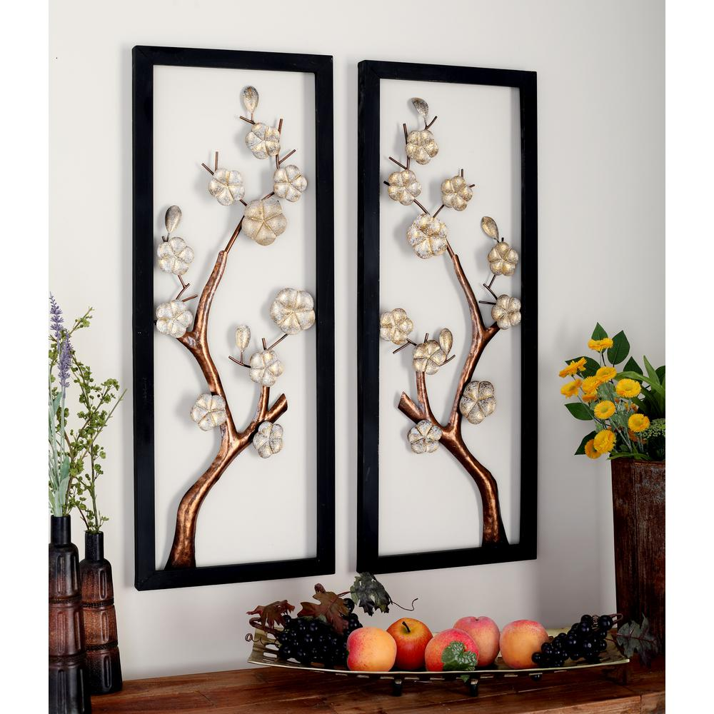 Iron Rectangular-Framed Cream Floral and Brown Tree Branch Wall Decor (Set