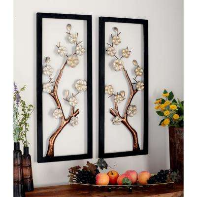 Iron Rectangular-Framed Cream Floral and Brown Tree Branch Wall Decor (Set of 2)