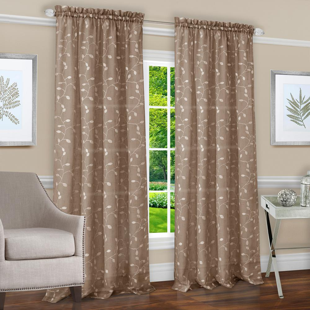 Chloe Taupe Polyester Rod Pocket Curtain 50 in. W x 84