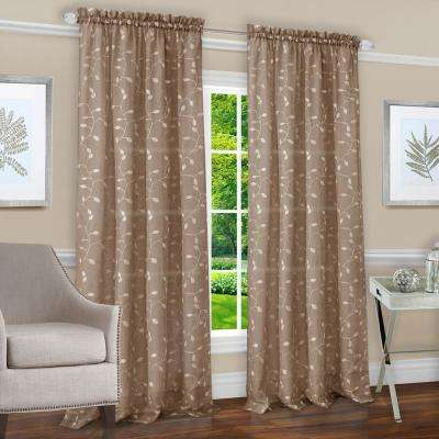 Chloe Taupe Polyester Rod Pocket Curtain 50 In. W X 84 In. L