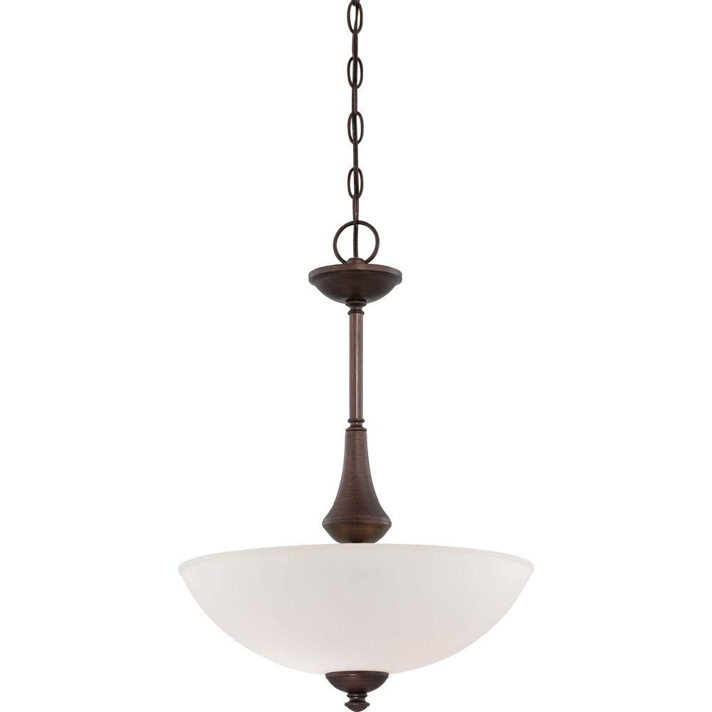 Glomar 3-Light Prairie Bronze Pendant with Frosted Glass Shade