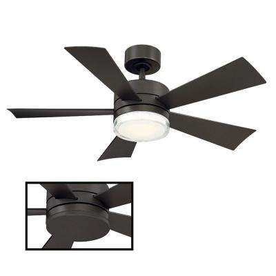 Wynd 42 in. LED Indoor/Outdoor Bronze 5-Blade Smart Ceiling Fan with 3500K Light Kit and Wall Control