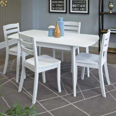 White dining room sets kitchen dining room furniture the dillon 5 piece extendable white wooden dining set sxxofo