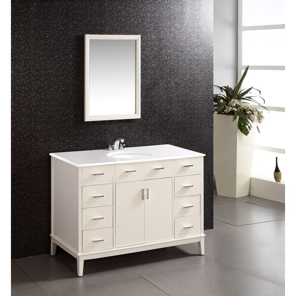 Simpli Home Urban Loft 48 In Bath Vanity In Soft White With Quartz Marble Vanity Top In White With White Basin