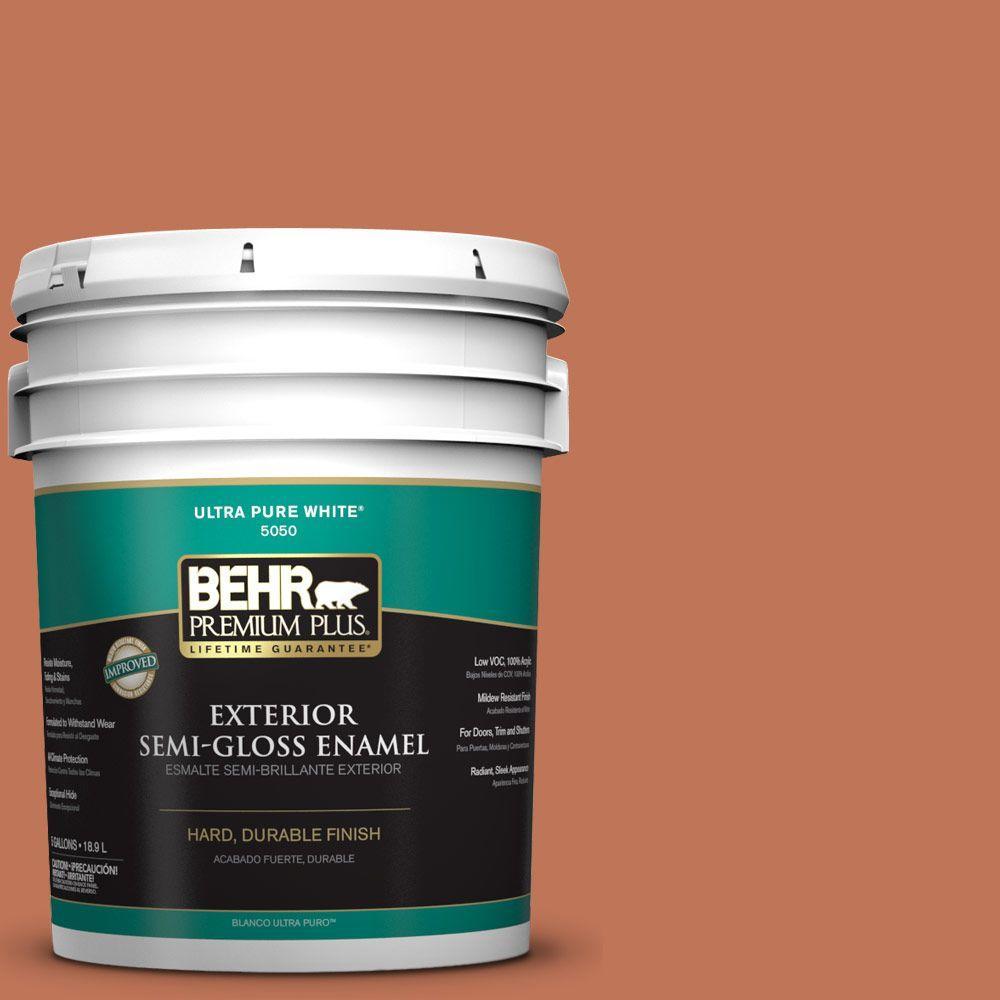 BEHR Premium Plus 5-gal. #M200-6 Oxide Semi-Gloss Enamel Exterior Paint