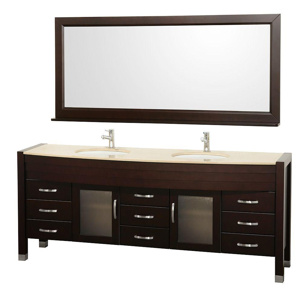 Wyndham Collection Daytona 78 in. Vanity in Espresso with Double Basin Marble Vanity Top in Ivory and Mirror