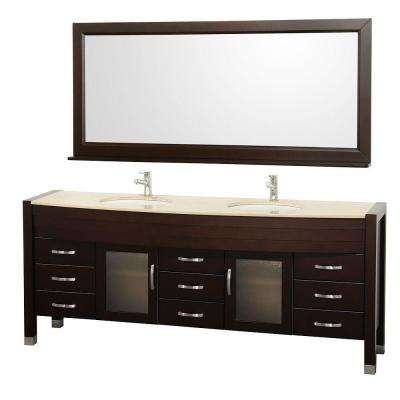 Daytona 78 in. Vanity in Espresso with Double Basin Marble Vanity Top in Ivory and Mirror