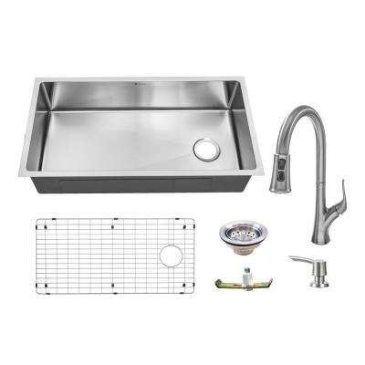 All-in-One Undermount 18-Guage Stainless Steel 36 in. Single Bowl Kitchen Sink w/ Pull Down Faucet in Brushed