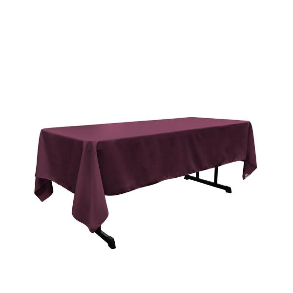Polyester Poplin 60 in. x 120 in. Eggplant Rectangular Tablecloth