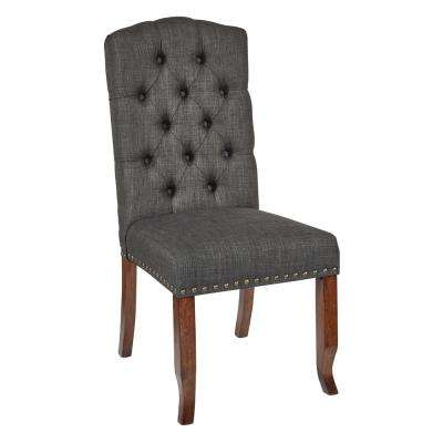Jessica Charcoal Fabric Tufted Dining Chair with Bronze Nail-Heads and Coffee Legs
