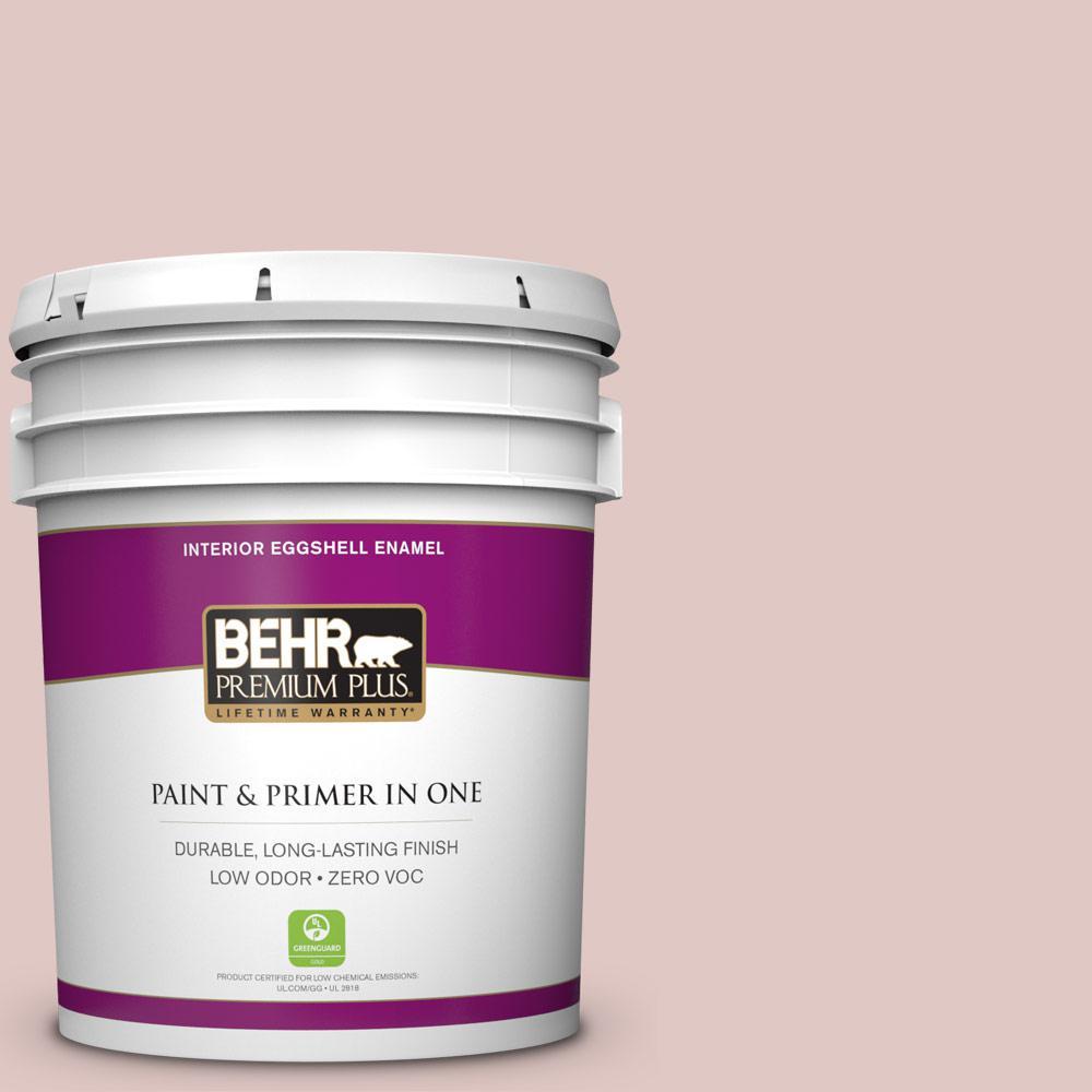 BEHR Premium Plus 5-gal. #160E-2 Pink Water Zero VOC Eggshell Enamel Interior Paint