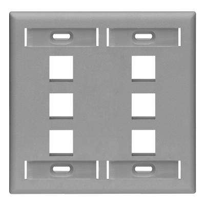 2-Gang QuickPort Standard Size 6-Port Wallplate with ID Windows, Gray