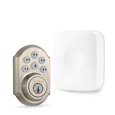 SmartThings Hub with Kwikset Satin Nickel Connected Deadbolt