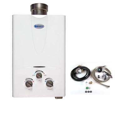 1.5 GPM Liquid Propane Gas Tankless Water Heater Residential with Shower Head, Gas Regulator and Hose