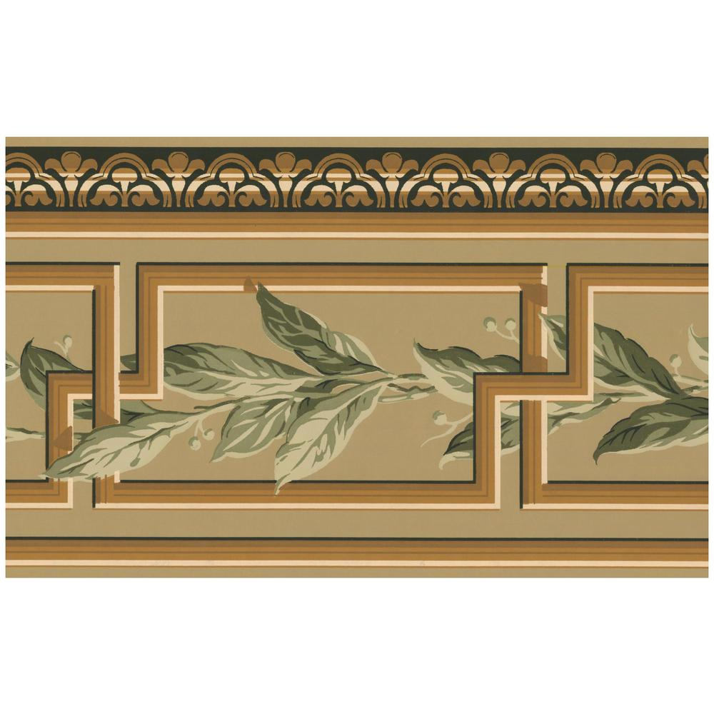 Traditional with Green Vines Abstract Prepasted Wallpaper Border