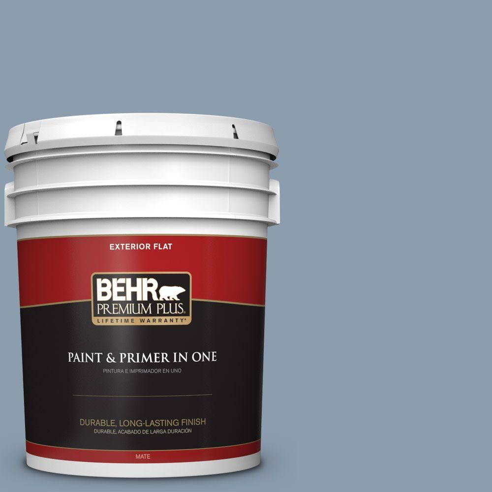BEHR Premium Plus 5-gal. #ICC-65 Relaxing Blue Flat Exterior Paint