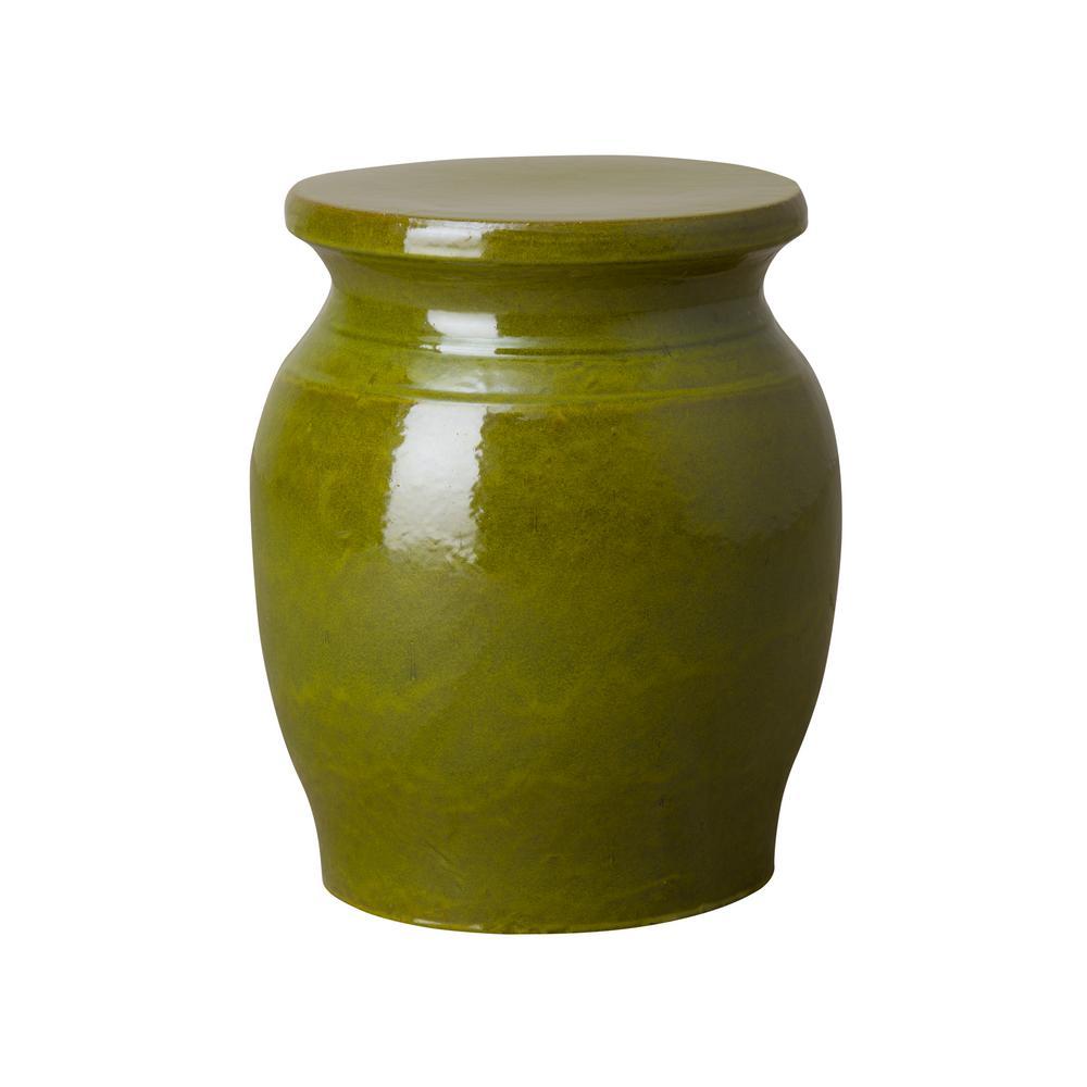 Koji Green Ceramic Indoor/Outdoor Garden Stool