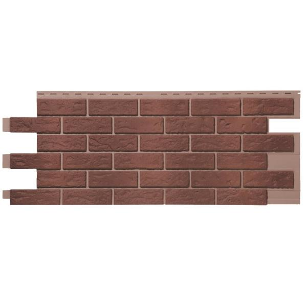 Stone HL - 18.5 in. x 48 in. Hand-Laid Brick in Red Used Blend (46 sq. ft. per Box) Vinyl Siding