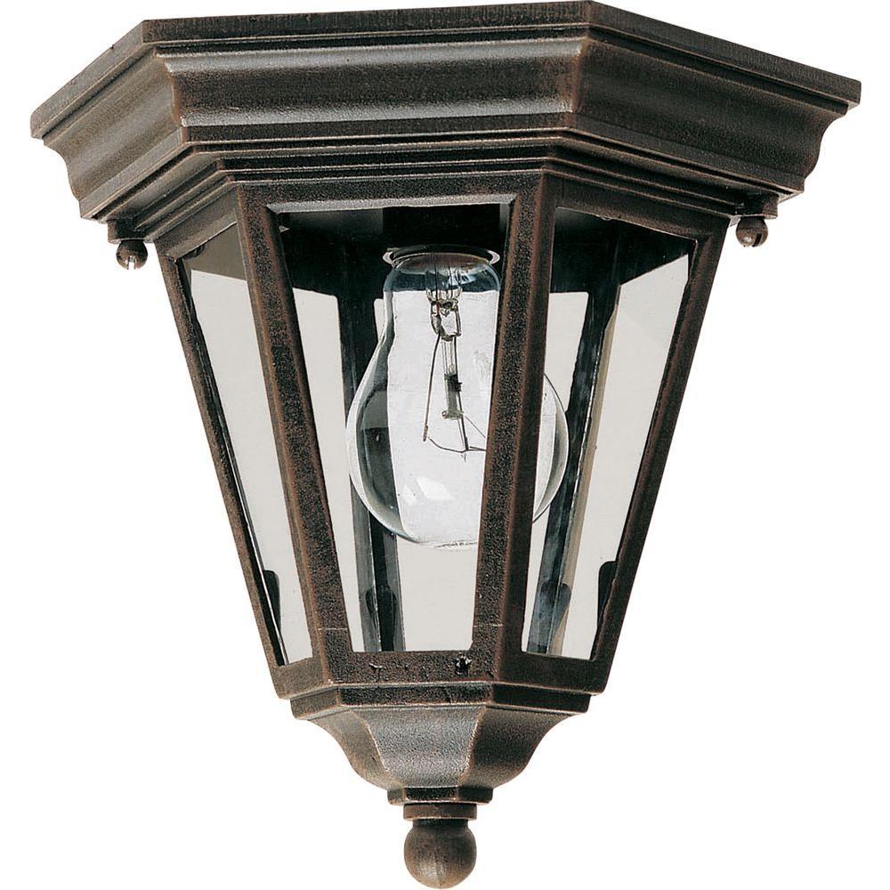 Maxim lighting westlake 1 light rust patina outdoor flushmount
