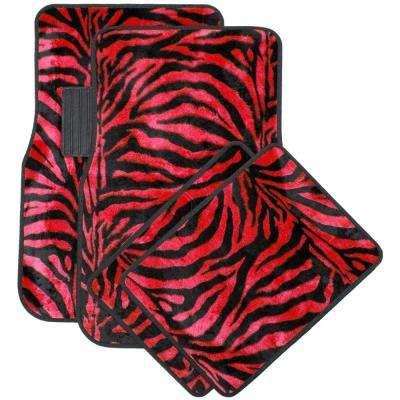 Zebra Red and Black 4-Piece Heavy-Duty 26.5 in. x 17.25 in. Rubber Floor Mats