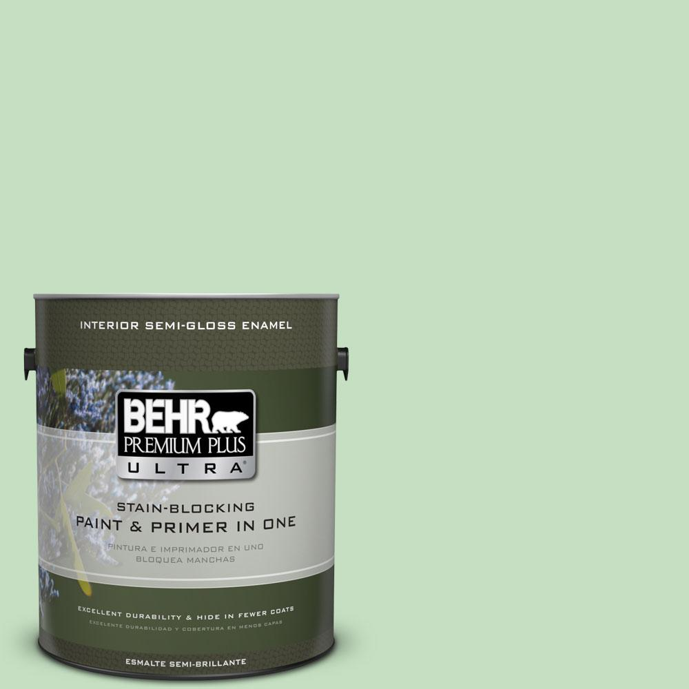 1-gal. #450C-3 Green Myth Semi-Gloss Enamel Interior Paint