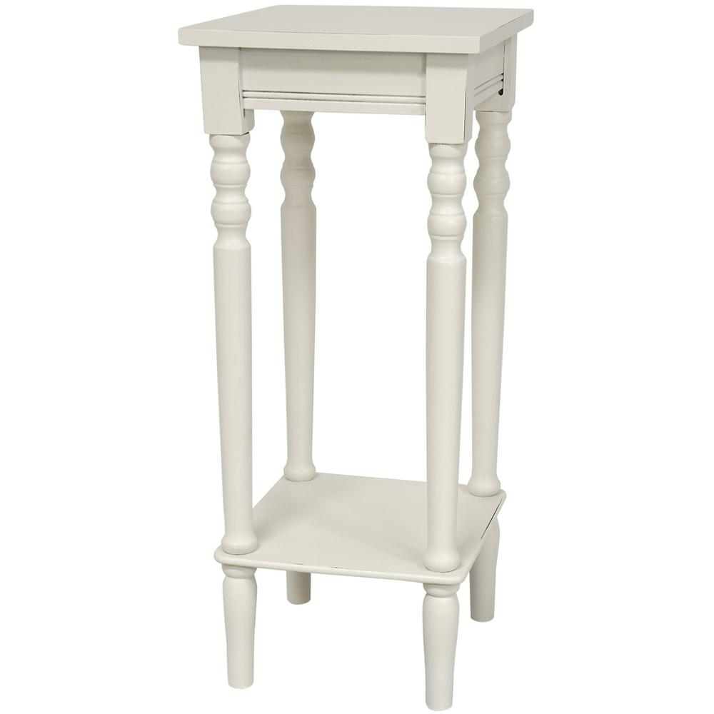 Oriental Furniture 11.75 in. Classic Square Plant Stand in White