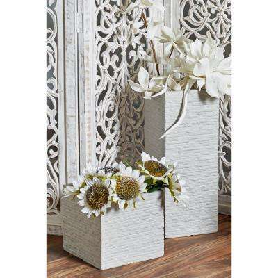 White Fiber Clay Square Tower Planters (Set of 3)