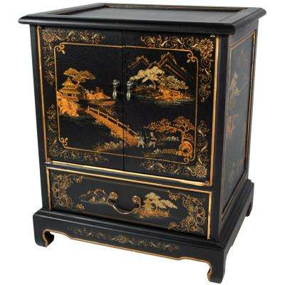 Japanese Landscape Black End Table